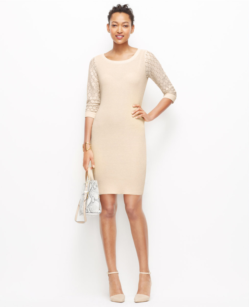 Lace Sleeve sweater Dress ..Fresh Cream Color $59.99..Black Color $79.00 with an extra 60% off